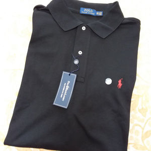 Polo Ralph Lauren Black Knit Poloshirt, Men sz 2XB